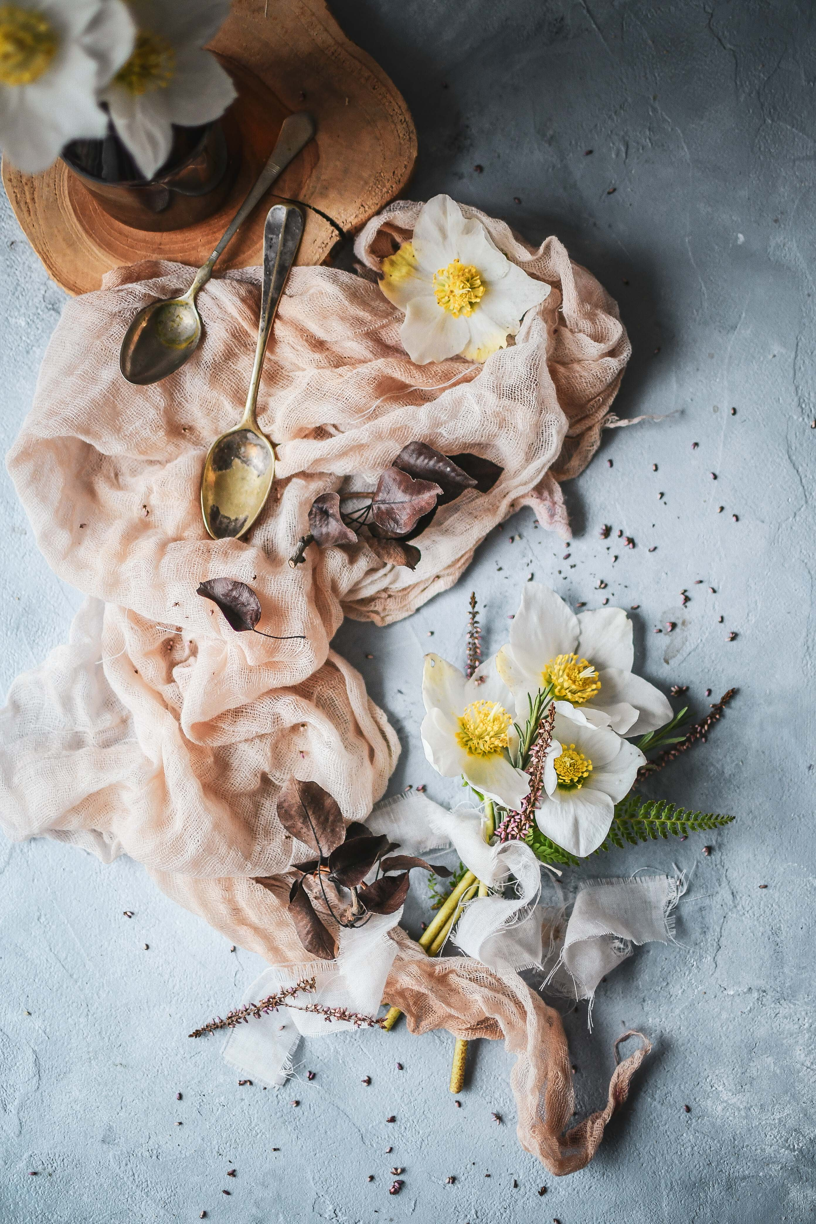 floral flatlay food props photography